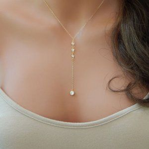 Gold CZ Lariat Crystal Gold Y Shaped Necklace